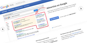 Google AdWords results with ads highlighted